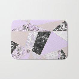 Geometrical black white lavender abstract marble Bath Mat