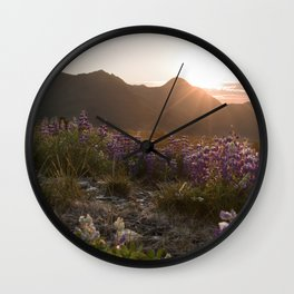 Three Sisters Sunset Photography Print Wall Clock