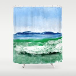 Blue to Emerald Waters Shower Curtain