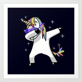 Dabbing Unicorn Shirt Dab Hip Hop Funny Magic Art Print