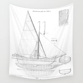 Vintage black & white sailboat blueprint drawing antique nautical beach or lake house preppy decor Wall Tapestry