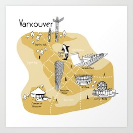 Mapping Vancouver - Yellow Art Print