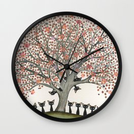 Barbados Whimsical Cats in Tree Wall Clock