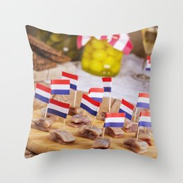 II - Dutch herring ('haring') with onions and pickles on rustic table Throw Pillow