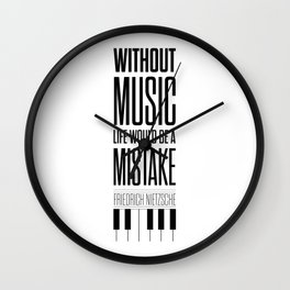 Lab No. 4 - Friedrich Nietzsche Quote life music typography poster Wall Clock