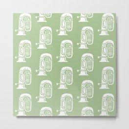 Tuba Pattern Sage Green Metal Print