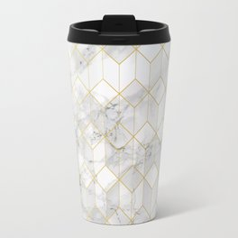 White Marble with Gold Cube Pattern Travel Mug