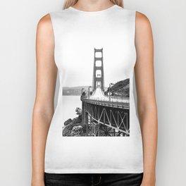 Golden Gate Bridge Black and White Biker Tank