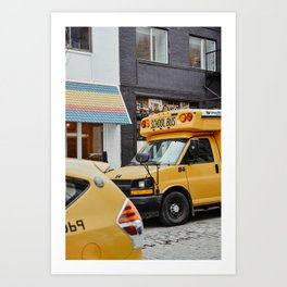 American school bus in downtown New York City, USA | Colorful yellow school bus | Travel photography  Art Print