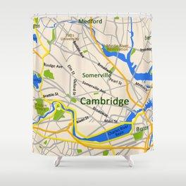 Map of Cambridge, MA, USA Shower Curtain
