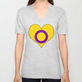 Intersex Heart v2 Unisex V-Neck