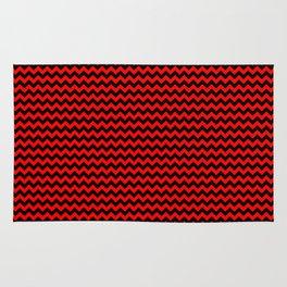 Mini Red Devil and Black Halloween Chevron Zigzag Stripes Rug