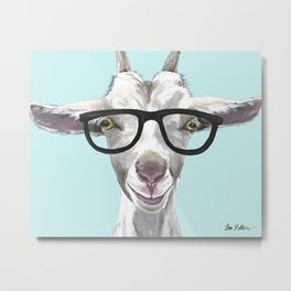 Goat with Glasses, Cute Farm Animal Metal Print