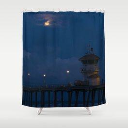 Full Moon Over Huntington Beach Pier Shower Curtain