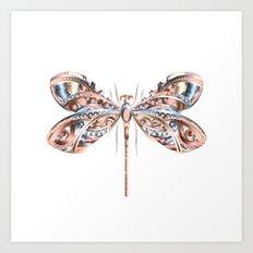 Metallic Dragonfly Art Print