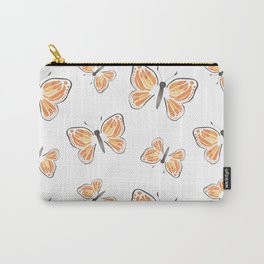 Monarch Butterfly in White Carry-All Pouch