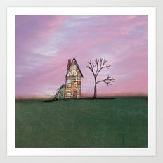 Little Brick House With Tree Art Print