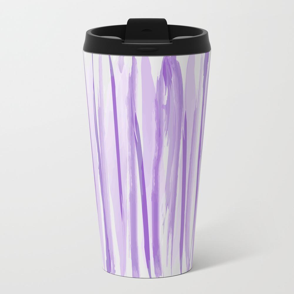 Purple Watercolor Striped Pattern Travel Cup TRM8275618