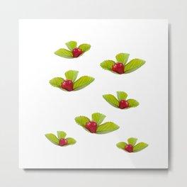 One ripe strawberry fruit lying on leaf Metal Print