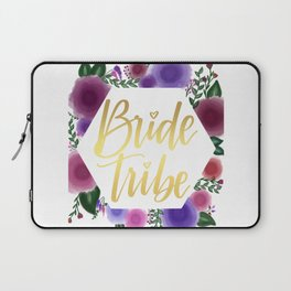 Shiny gold Bride Tribe (floral hexagon) Laptop Sleeve