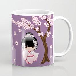 Japanese Bride Kokeshi Doll on Purple Coffee Mug