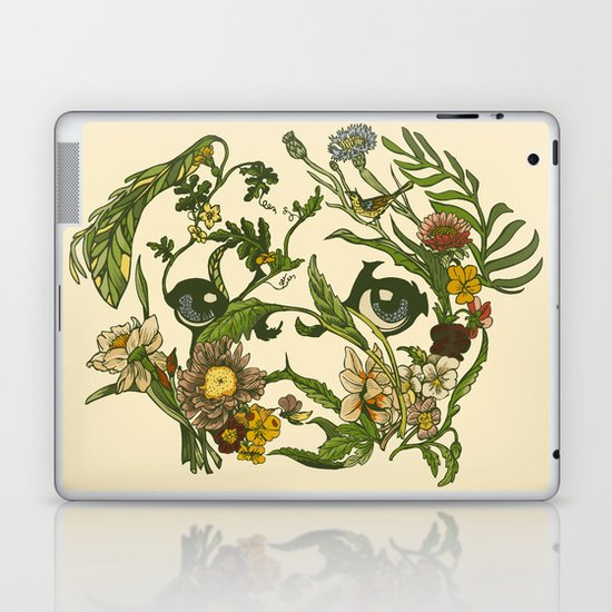 Botanical Pug Laptop & iPad Skin