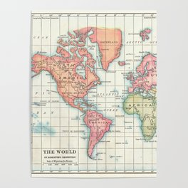 World Map - Colorful Continents Poster
