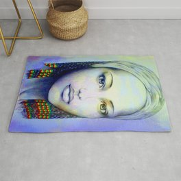 Creole African Girl Portrait Hand Drawing  Rug