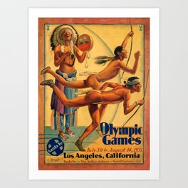 1932 Olympic Games - Los Angeles, CA - Native American - Santa Fe Railroad Vintage Poster Art Print