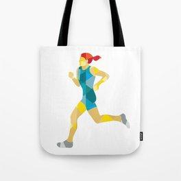 Female Triathlete Marathon Runner Low Polygon Tote Bag