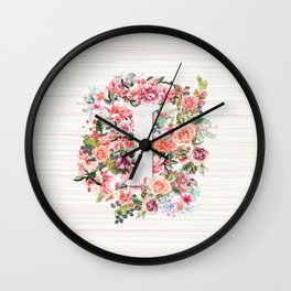 Initial Letter I Watercolor Flower Wall Clock