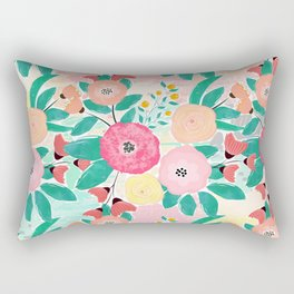 Modern brush paint abstract floral paint Rectangular Pillow