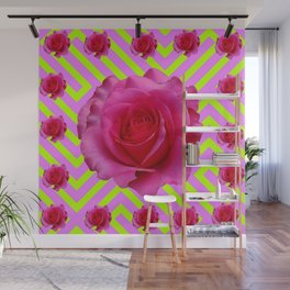 CONTEMPORARY CHARTREUSE PINK ROSES ABSTRACT GARDEN ART Wall Mural