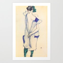 """Egon Schiele """"Rückenansicht eines Mädchens im blauen Rock (Back view of  a girl in a blue dress)"""" Art Print"""