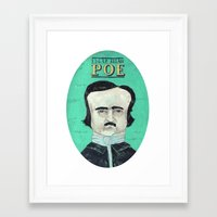 edgar allan poe Framed Art Prints featuring Edgar Allan Poe by Mary Kate McDevitt