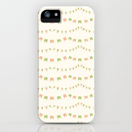 Summer Party Banner Flags Illustrated Print in Peach and Green iPhone Case