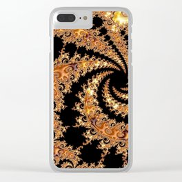 Mandelbrot Set Fractal Art in Tones of Toffee and Caramel Golden Brown Clear iPhone Case