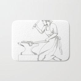 Female Blacksmith at Work Doodle Art Bath Mat