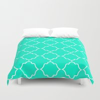 moroccan Duvet Covers featuring Moroccan Aqua by Jenna Mhairi