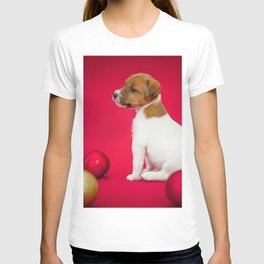 Jack Russell Terrier New Year Christmas little puppy cute animals red Christmas balls dogs T-shirt