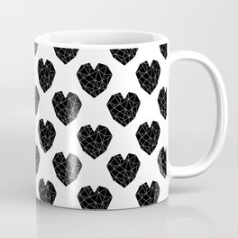 Hearts black and white geometric minimal abstract valentines day gift for gender neutral him or her  Coffee Mug