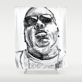 Digital Drawing 33 - Notorious B.I.G. Black and White Shower Curtain