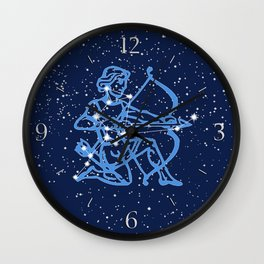Sagittarius Constellation & Zodiac Sign with Stars Wall Clock