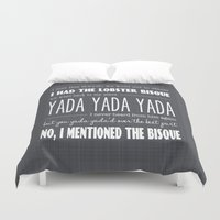 seinfeld Duvet Covers featuring I Mentioned the Bisque - TV Series Seinfeld Poster Print by Eyne Photography