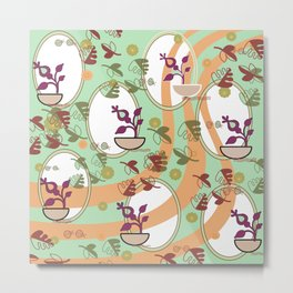 Flowers and leaves with frames Metal Print