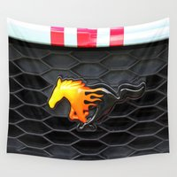 mustang Wall Tapestries featuring Firey Mustang by VHS Photography