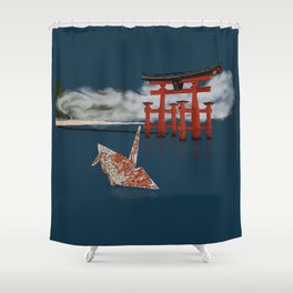 Floating by the Torii Gate Shower Curtain
