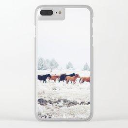 Winter Horse Herd Clear iPhone Case