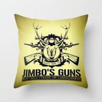 guns Throw Pillows featuring Jimbo's Guns by Silvio Ledbetter