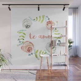'I Love You' in Spanish - Floral Wreath Wall Mural